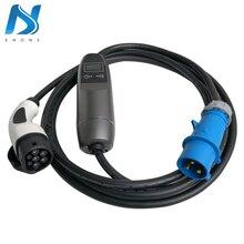 Khons EVSE IEC 62196 Elektrische Fahrzeug Tragbare EV Ladegerät Mit Blau CEE Stecker 32A Einstellbare 16ft Kabel Lade Stecker Typ 2
