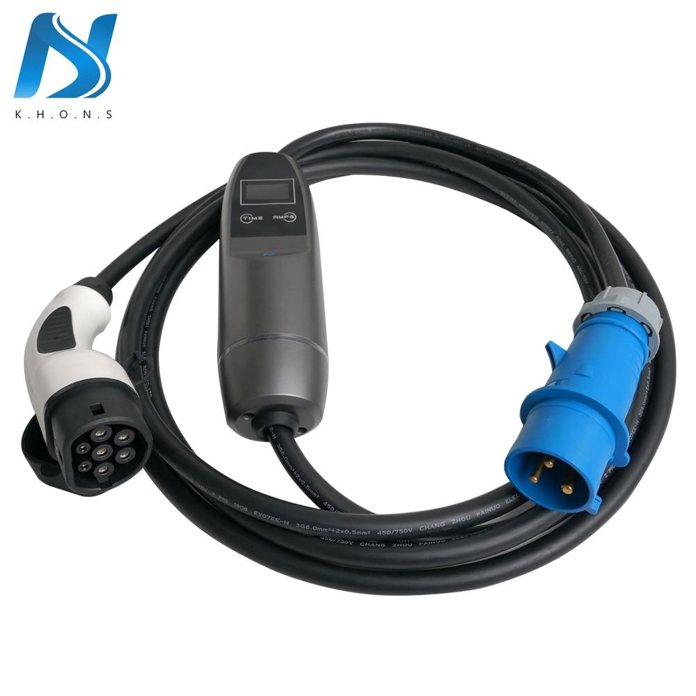 Khons SAVE IEC 62196 Électrique Véhicule Portable EV Chargeur Avec Bleu Fiche CEE 32A Réglable 16ft Câble De Charge Type De Connecteur 2