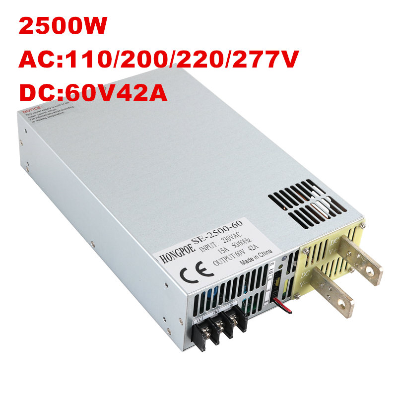 2500 W 60 V alimentation 0-60 V puissance réglable 60VDC AC-DC 0-5 V contrôle du Signal analogique SE-2500-60 transformateur de puissance 60 V 41A