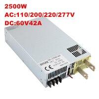 Best качество 2500 Вт 41A 60 В Питание SE 2500 48 AC к DC 60 В PSU переключатель режима Питание 60 В SE 2500 60 0 60 В