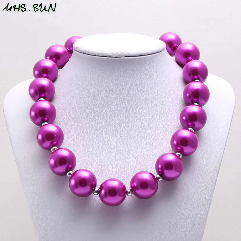 MHS.SUN Fashion baby girls chunky beads necklace bracelet cute princess child kids bubblegum pearl necklace chunky jewelry set