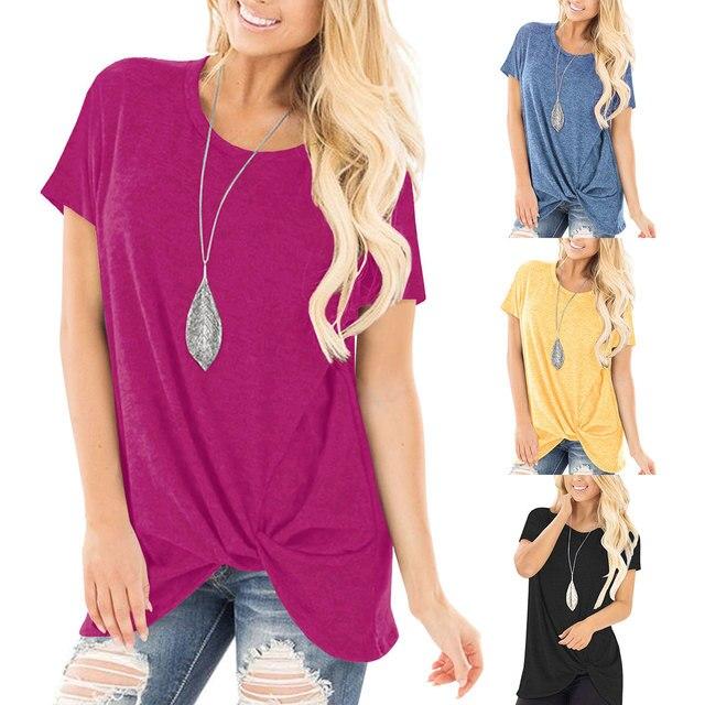 8c885efed8e6 € 8.62 50% de DESCUENTO|Nueva explosión ropa de las mujeres Amazon  explosión modelos de manga corta anudada camisa cuello redondo Camiseta de  ...
