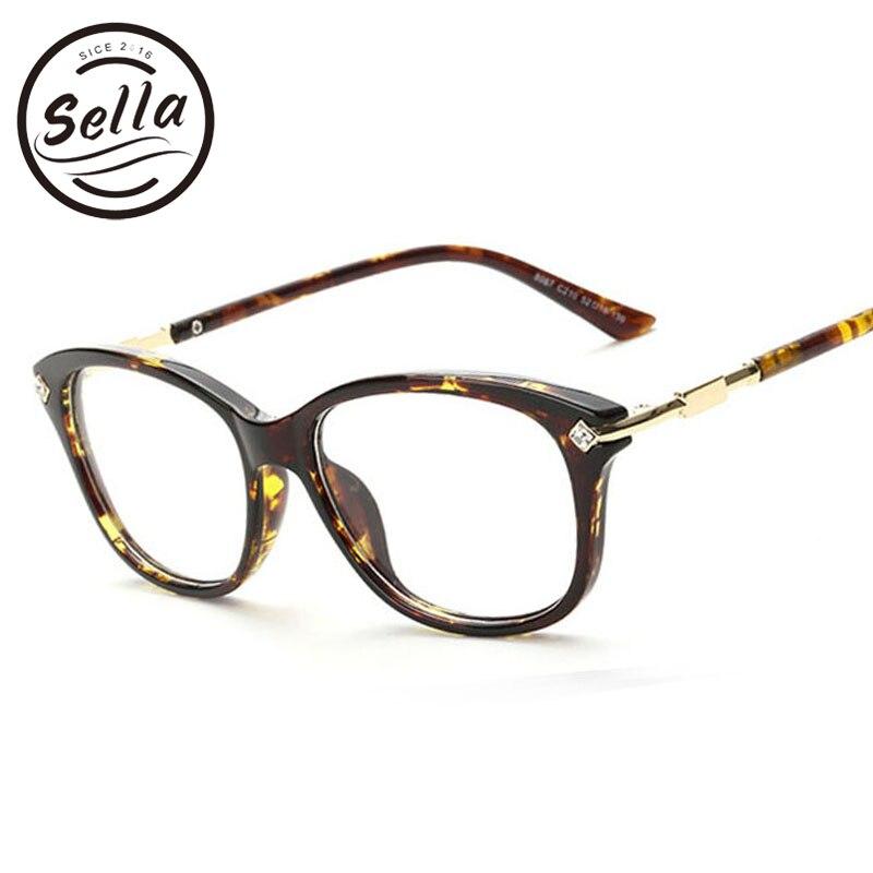 Sella Fashion Crystal Decration Eyewear Brand Designer Women Square Glasses Frames Retro Lady Eyeglasses