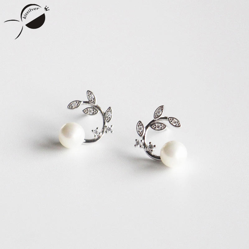 Dámské náušnice 925 Sterling Silver 2017 Kamínky Šperky Elegantní Party Dárek Simulované Perlové Náušnice