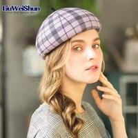 2018 Fashion Lattice Winter Cap For Women Knit Beret Winter Warm British Style Lady Painter Bonnet Hats Solid Bonias Wholesale