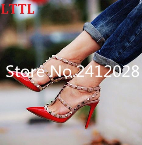 1d68dc3d48 LTTL Pink Red Nude Patent Leather Women Pumps Pointed Toe T-Strap Stiletto  Heels Shoes Studded Rivets Women High Heels Sandals