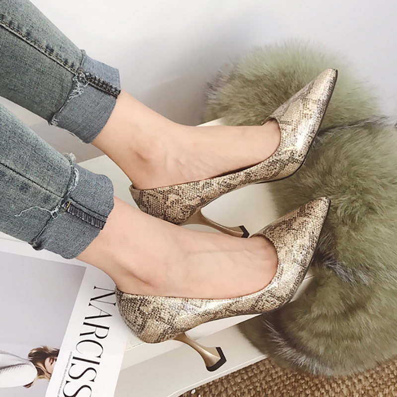 Sexy Women Pumps for Women Thin High Heels Wine Heeled Pumps Slip On Pointed Toe Shoes for Dress Office Pump Snake Print Shoes