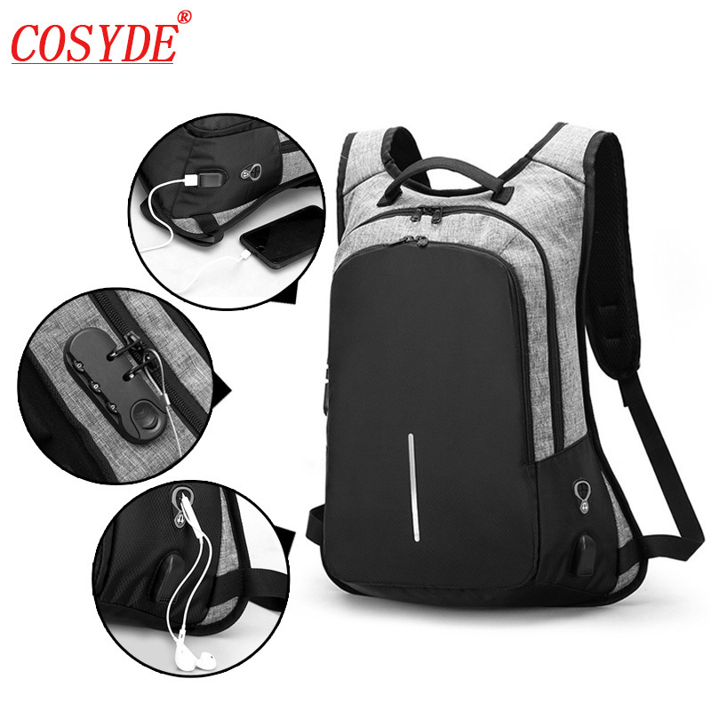 Notebook Men Backpacks 15.6inch Male Bag Campus College Student Anti Theft Function Laptop Holder Mochila 15-17inch Usb Backpack
