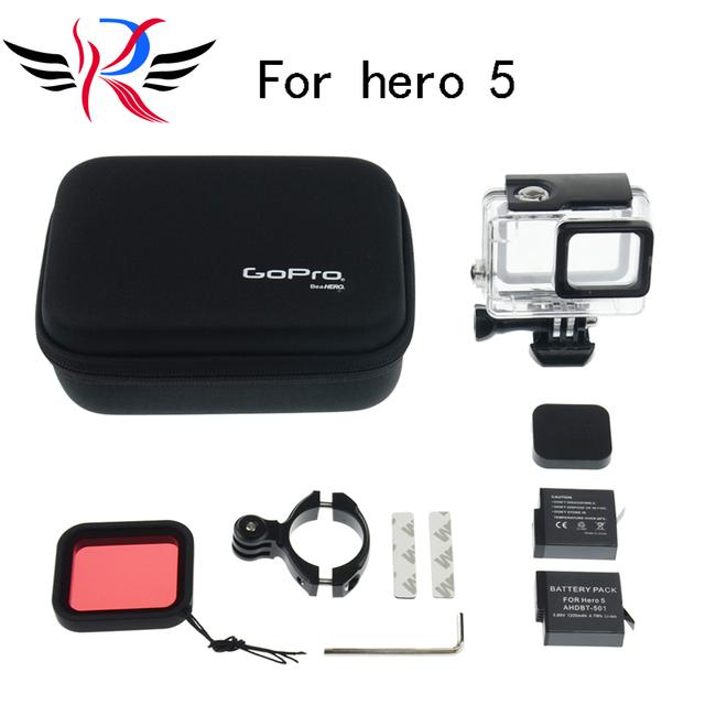 Acessórios gopro definir gopro hero 5 estojo protetor saco de armazenamento à prova d' água titular da bicicleta para gopro hero 5 bateria para go pro hero 5