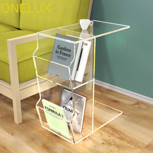 цены Acrylic C Shaped Occasional Side Sofa Tea Table With Magazine Pockets,Waterfall Lucite nightstands with book rack
