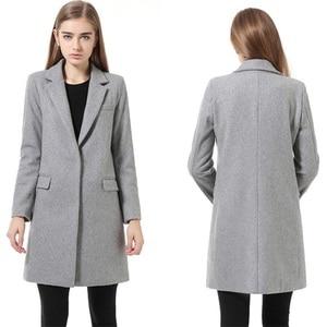 Image 2 - נשים צמר מעיל באיכות גבוהה סתיו חורף מעיל נשים Slim צמר קשמיר מעילי קרדיגן אפור מעילי תערובת אלגנטית