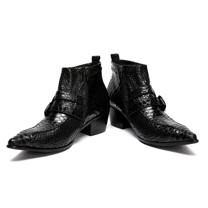 La Alligator Cheville Noir Homme Bout Cowboy Haute Plus Verni Pointu Main Taille En De Hauts Chaussures Hommes Cuir haut Talons Bottes Sl102 Moine Sangles kuwXZiTlOP