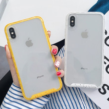 Shockproof Candy Color Clear Phone Case For iphone X XS XR XS Max 6 6S 7 8 Plus Transparent TPU +PC Hard Protective Back Cover fashionable contrast color pc tpu protective back case for iphone 5c black green