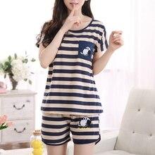 Women Cartoon Pajamas Short Sleeve Cotton Pyjamas Set Home Nightwear Sleepsuit
