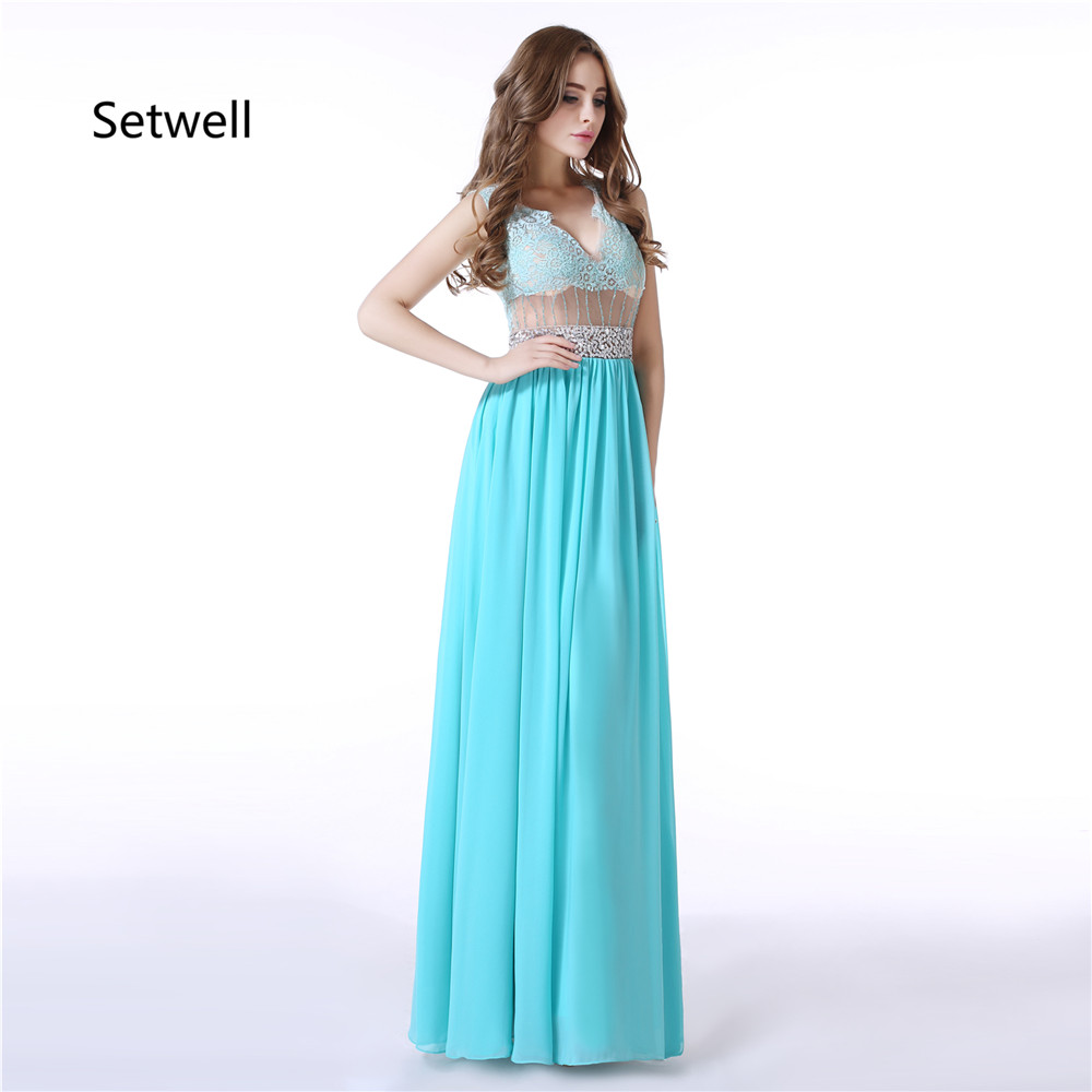 Setwell Blue Chiffon   Prom     Dresses   Sexy Illusion Neckline Backless   Prom     Dress   High Quality Applique Beading Sequin Evening Gowns