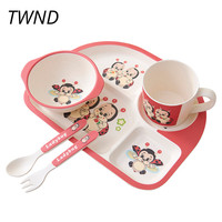 5 Pieces children's tableware sets baby bowls plates dishes cup fork 17.3