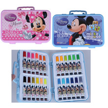 Disney Mickey House Minnie Painting 24 Water Colors Markers Brush Pens Stamps Kid Educational Drawing Toys for Children Boy Girl