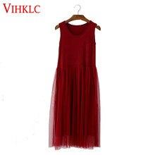 b83b35c0b8 Summer dress mulheres 2017 casual dress vestido modal patchwork malha dress  tanque sem mangas roupas baratas
