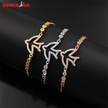 dower me Personality Design Exquisite Hollow Bird Round Small Zircon Stainless Steel Female Brecelets 3 colors