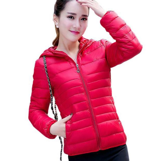 fashion light thin jackets coats women autumn winter short slim cotton coat ladies hot sale hooded padded jacket outfit kl0503