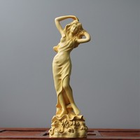 Sculpture Curly Beauty Ornaments Solid wood handicrafts home decoration Wenwan Creativity sculpture statue Decorations