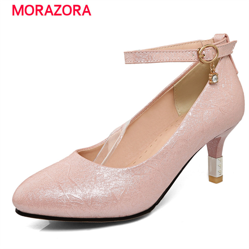 MORAZORA PU soft leather shallow single shoes elegant fashion big size 32-43 women pumps wedding shoes bride high heels morazora women patent leather pumps sexy lady high heels shoes platform shallow single elegant wedding party big size 34 43