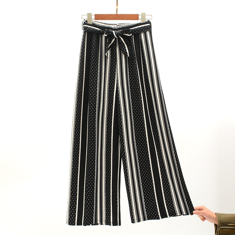 2019 Women Pants Summer New Striped High Waist Loose Pants Striped Straight Nine Pants Women 26