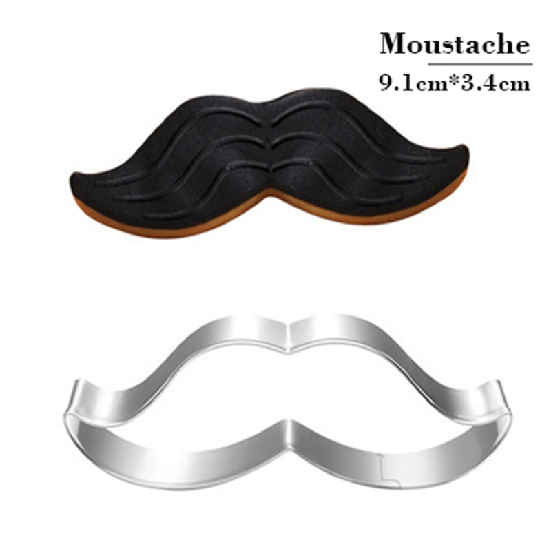 Mustache Cookie Tools Cutter Mould Biscuit Press Icing Set Stamp Mold Stainless Steel Baking Kitchen Toys Online Biscuits Stamp