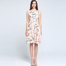 High Quality 2017 Spring&Summer Newest O-Neck  Sleeveless Pots And forks Print Pink Elegant Dress women