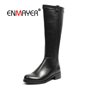 ENMAYER Women Knee High boots Winter Round toe zipper high heel knee high Fashion boots lady solid square heel size 34-39 CR1653