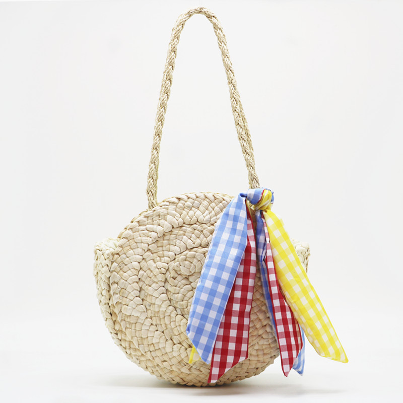Bohemian Style Handbag Tassel Bow Scarf Strap Weave Women small Beach Shoulder Bags Large Summer Straw Casual Tote Shopping Bag