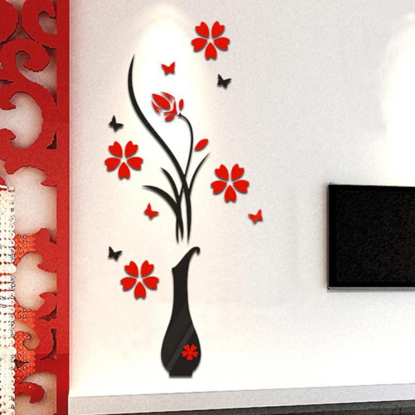 3D-s virágfala matricák nappali hálószobához Otthon DIY váza Virágfa kristály Arcylic 3D fal matricák matrica otthon