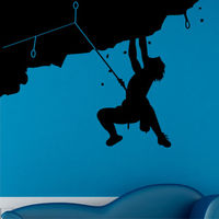 WX056 ROTSKLIMMEN muurstickers mannen mountain climber sticker art vinyl klimmers