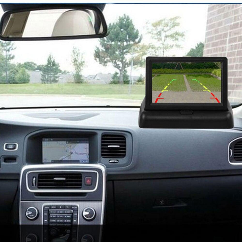 BYNCG 4.3 Cal Monitor samochodowy tft lcd składany Monitor wyświetlacz kamera cofania system parkowania na wyświetlacz tyłu samochodu monitory NTSC PAL