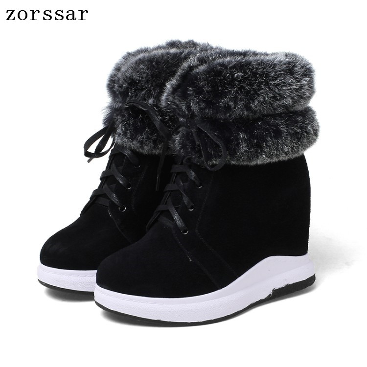 {Zorssar} 2018 winter womens snow boots suede Leather height increasing boots women high heel ankle boots Platform wedges shoes zorssar 2017 new winter female shoes suede platform height increasing ankle snow boots fashion buckle high heels women boots