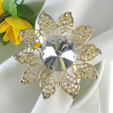 10PCS silver plated diamond pearl napkin buckle ring meal