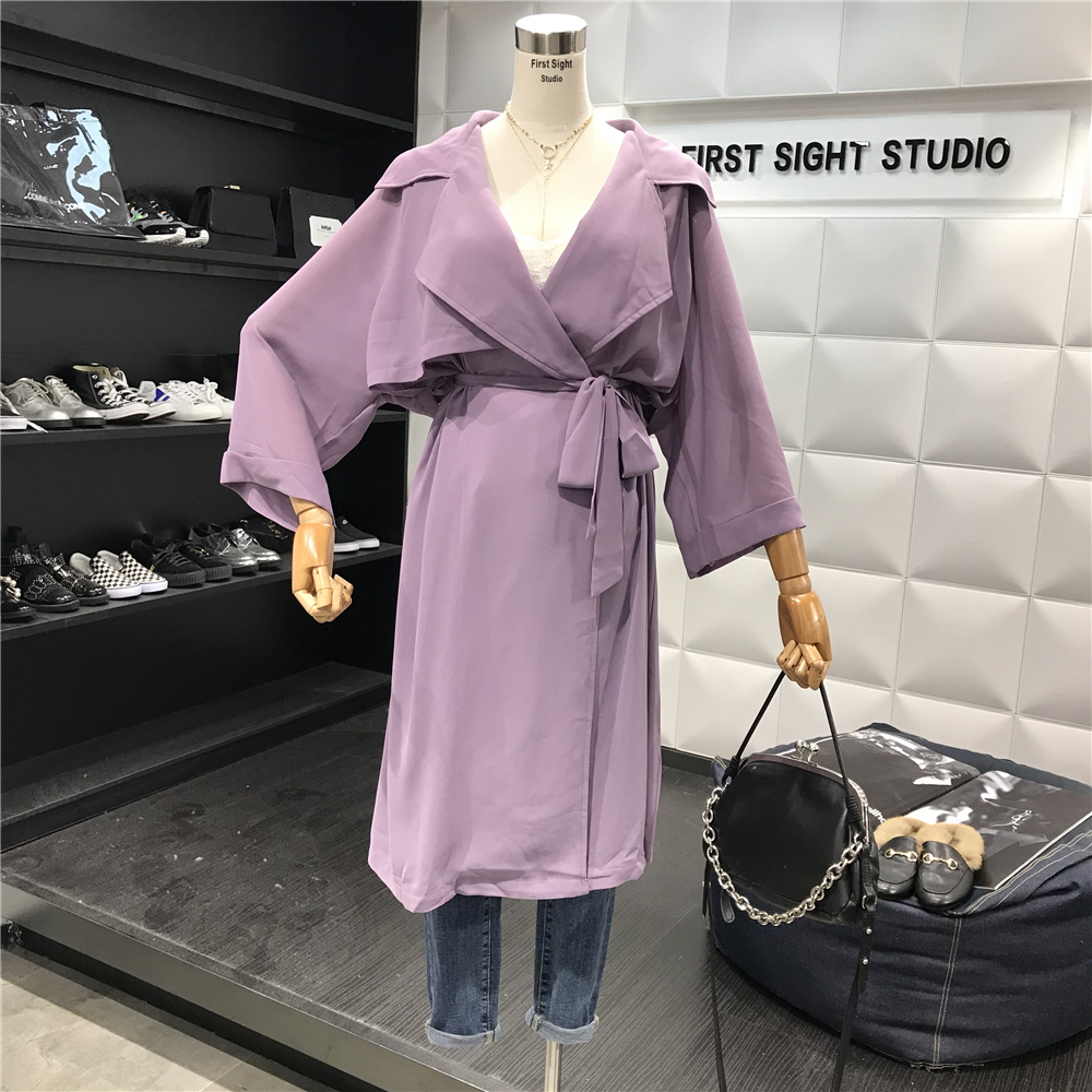 2018 Summer New   Trench   Coat Women's Long Below Knee Warp Gown Coats Leisure Thin Solid Chiffon Cardigan Sunscreen Purple Green