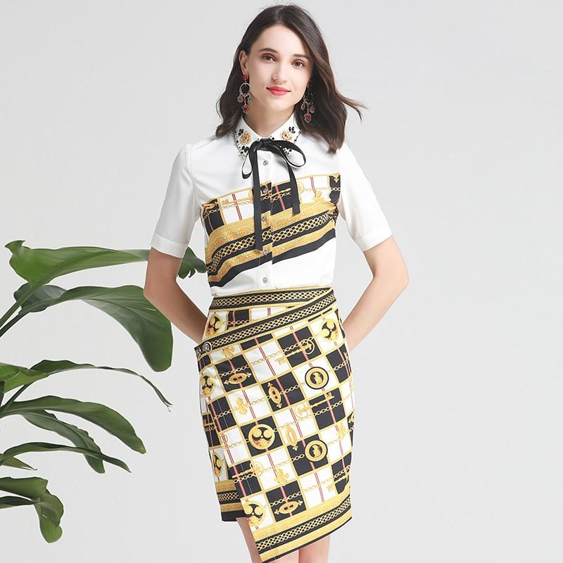 Ladies Skirt Sets 2019 Summer White Beaded Printed Tops + Irregular Vintage Printed Designer 2 piece sets New