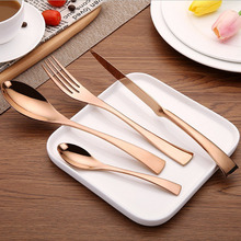 KuBac 2017 New 24Pcs/set Rose Golden KAYA 304 Stainless Steel Dinner Steak Knife Fork  Teaspoon Party  Cutlery Set