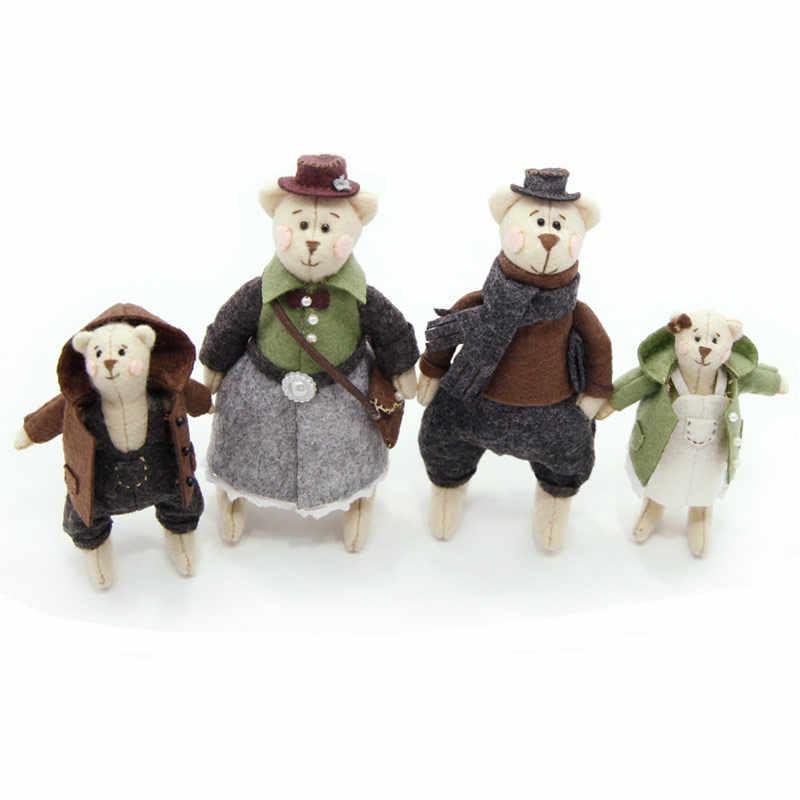 2018 Lovely Teddy Bear Families Doll Felt DIY Material Package Sweet Handmade Felt Applique Ornament Home Decoration For Bedroom