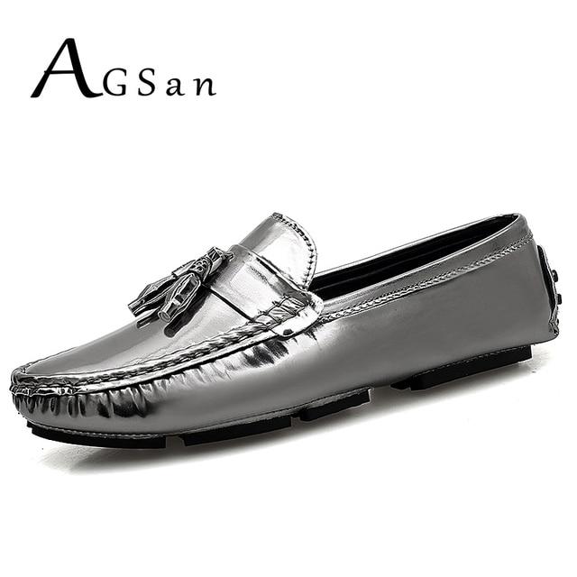 Agsan hombres de plata borla Mocasines color sólido conducción Zapatos para hombres slip on Lazy Zapatos negro mocasines hombre pu mens mocasines plana