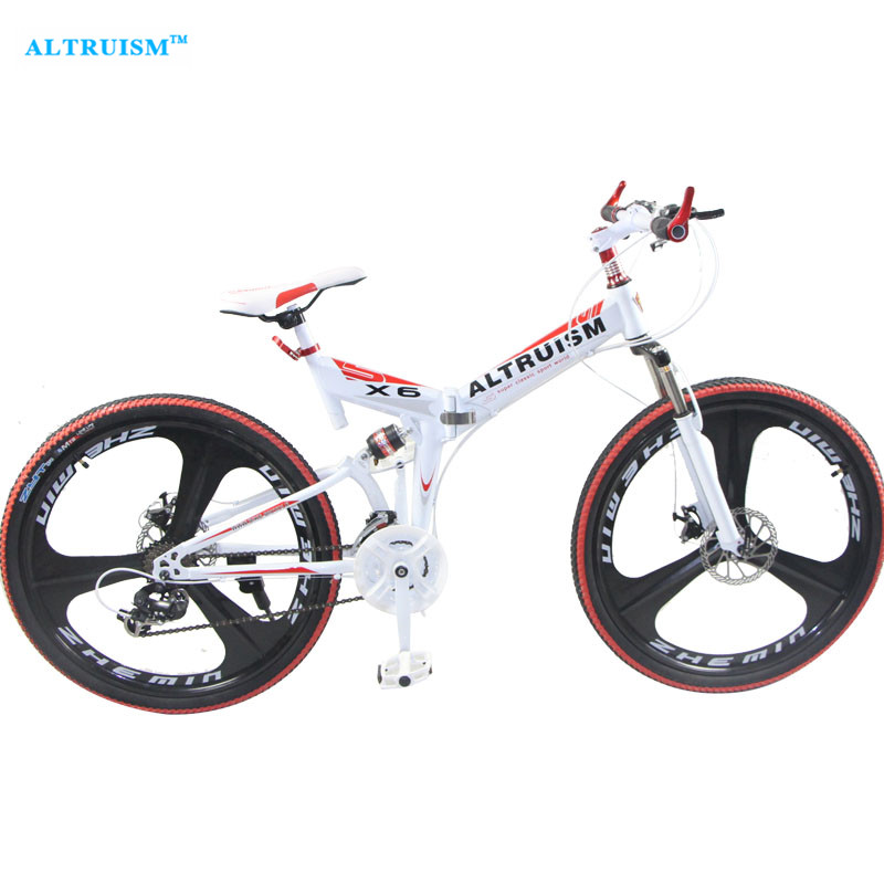 Altruism X6 21 Speed Folding Bicycle Mountain Bike Bicicleta 26 Steel Bicycles Bicicletas Mens Mountain Bikes Taga Bike Stroller altruism x6 folding bicycle 21 speed 26inch steel mountain bike completion for male bicicleta for montanha red blue black