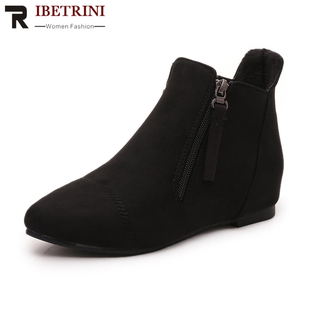 RIBETRINI women short ankle boots pointed toe New Arrivals Women's Boot