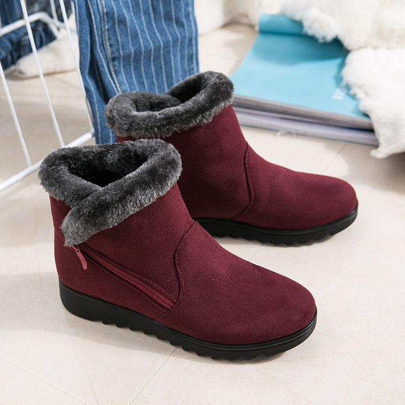 Women snow boots Women winter shoes women's ankle boots fashion casual flat warm plush shoes female ladies 2018 new OR400880 new 2015 original warm snow boots women plush winter ankle boots comfortable lady flame design casual australia flat shoes