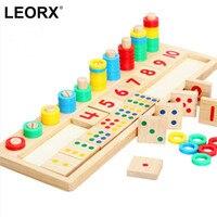 Montessori Regenbogen Ringe Dominos-karte Kinder Vorschule Lehrmittel Zählen und Stapeln Brett Aus Holz Mathematik Spielzeug