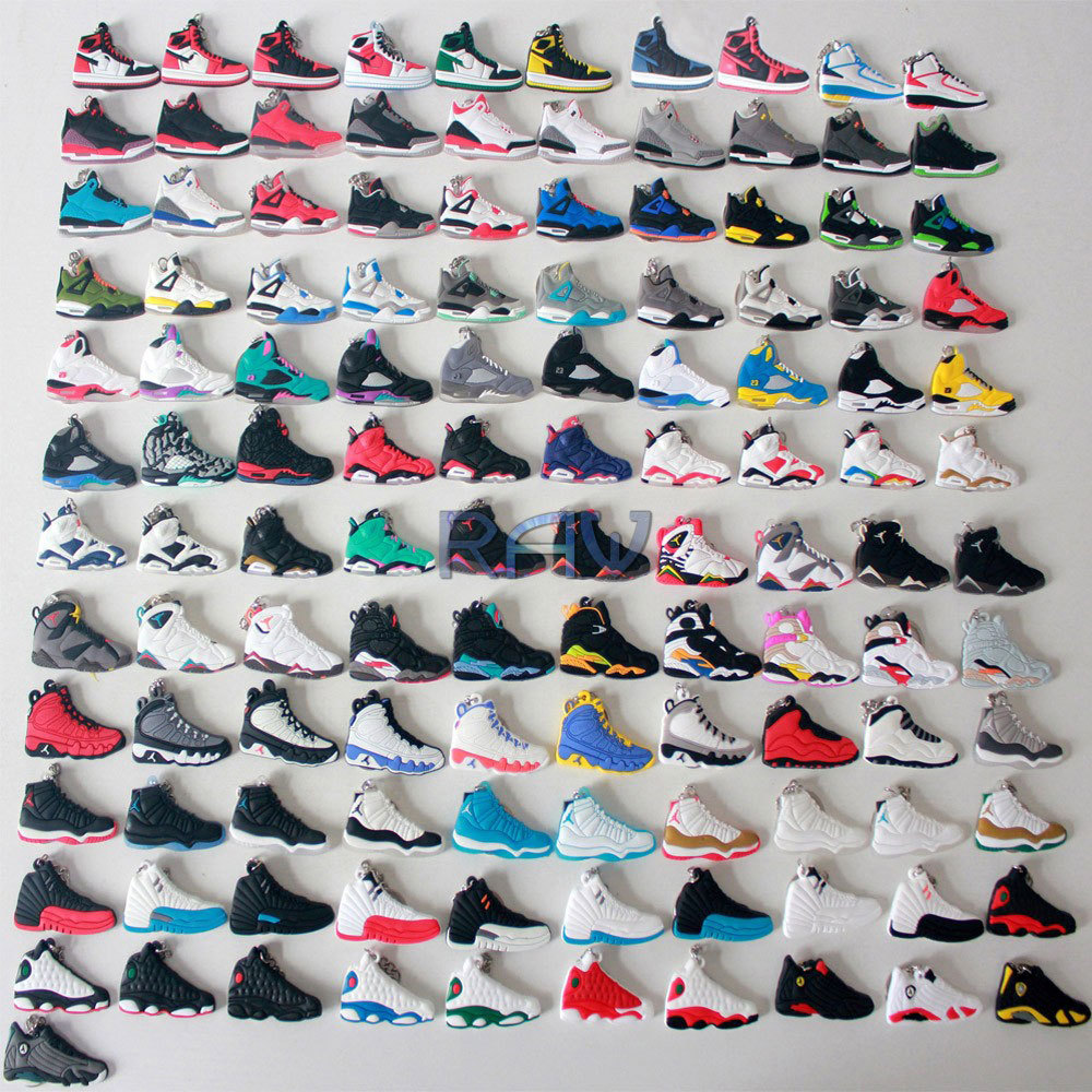 super popular fe94d 7a97e 121 Pieces Air Jordan Keychains Jordan 1 2 3 4 5 6 7 8 9 10 ...
