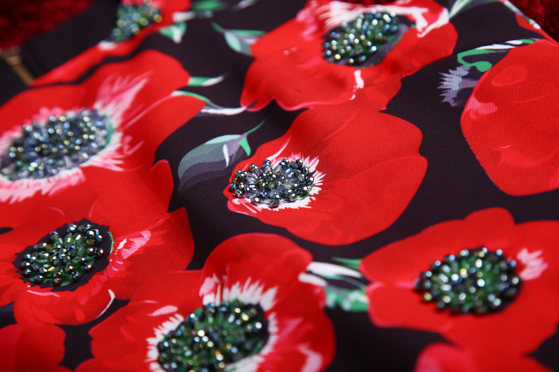 2019 Nouveauté Haute Robe D'été Luxe Couture Sans Piste Parti Femmes De Rouge Manches Qyfcioufu Perles Floral Courte Imprimé 5dzwIqgd