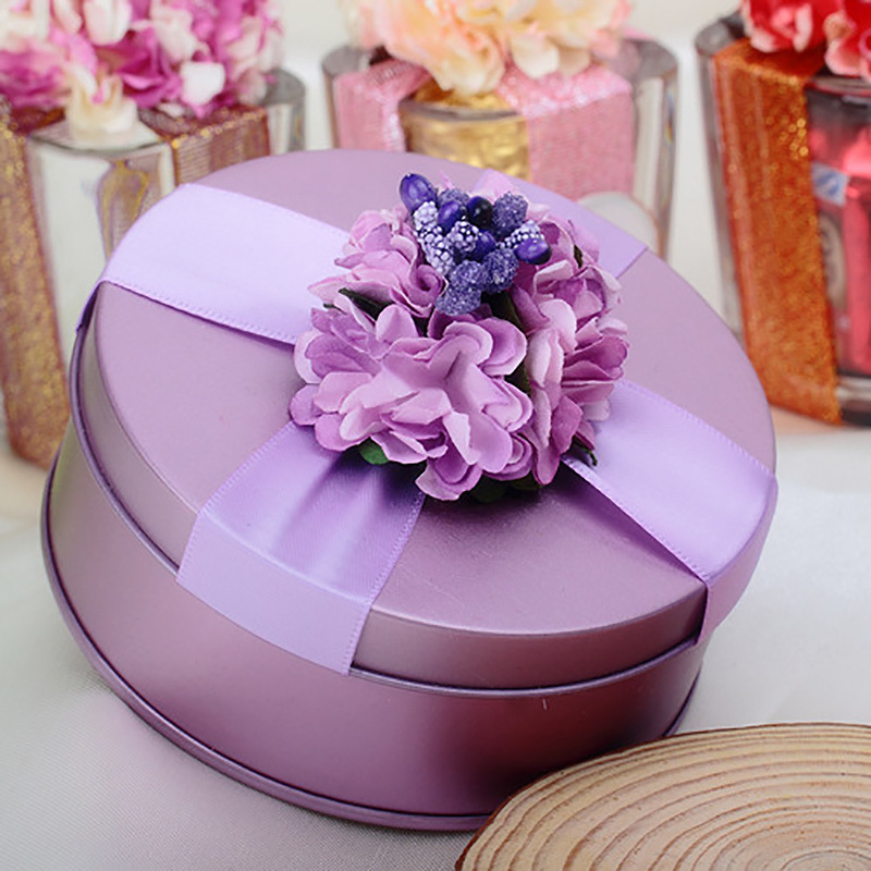 1 Pcs Purple Decor Candy Box Chocolate Box Small Weeding Gift Box Flower Bowknot Love Case Wedding Accessories Candy Case A30