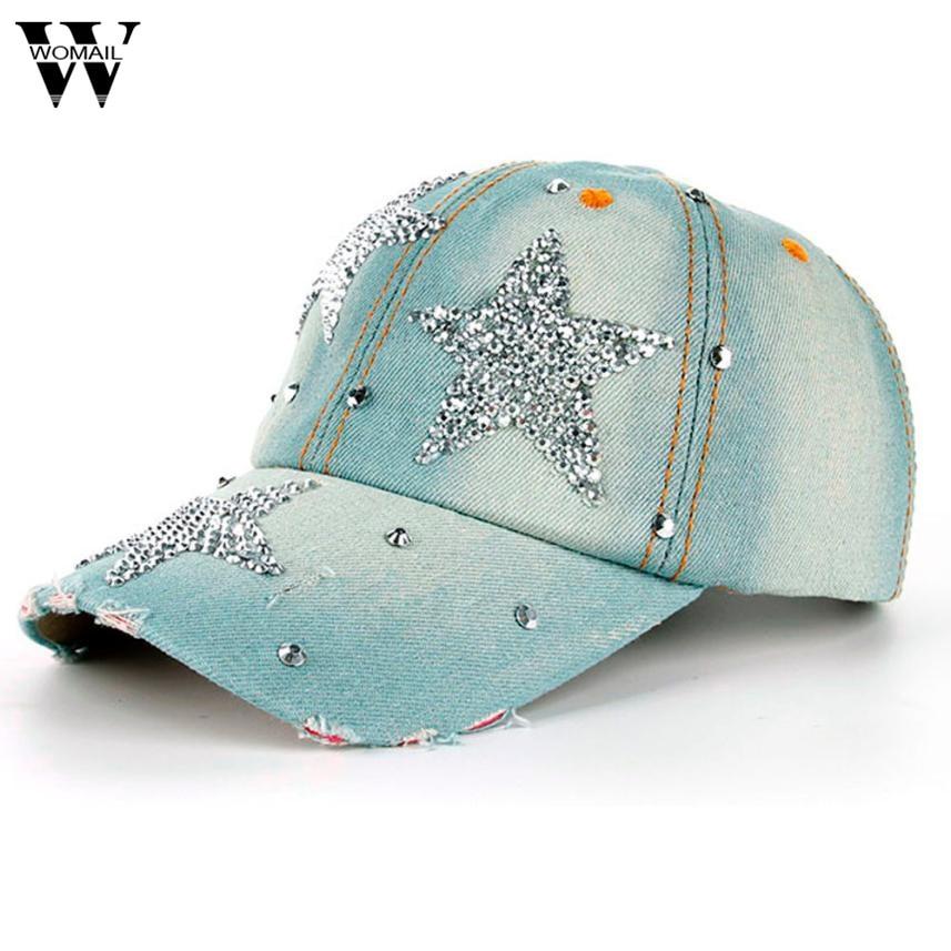 Obligatorisch 1 Stücke Unisex Denim Baseball Kappe Mode Strass Hip Hop Hüte Männer Frauen Einstellbare Hysterese Hut Hohe Qualität