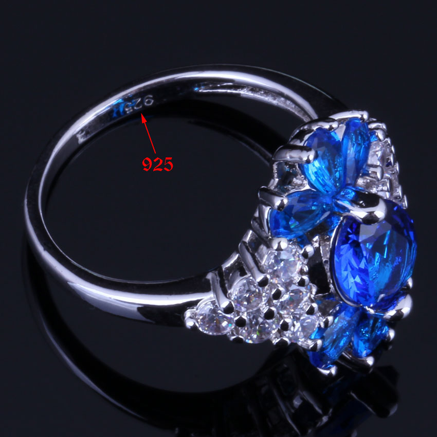 Majestic Plant Blue Cubic Zirconia White CZ 925 Sterling Silver Ring For Women V0634 in Rings from Jewelry Accessories